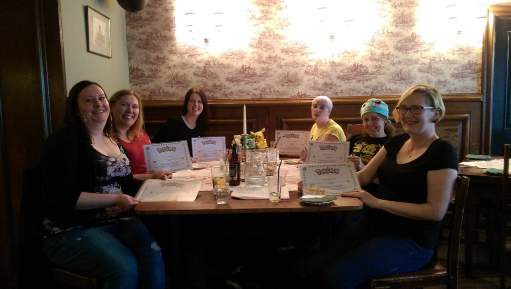 The Glasgow Pokebrunch attendees, with their trainer certificates.
